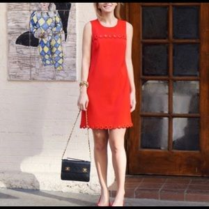J.Crew Scalloped Red Dress With Grommets Size 0